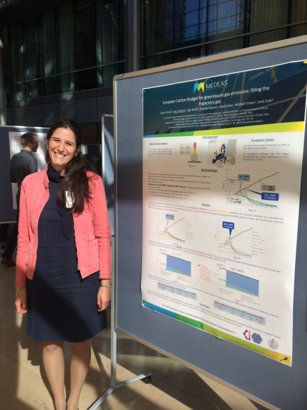 "Figure 13. Sara Falsini from INSTM presents a poster on ""European carbon budget for greenhouse gas emissions: filling the trajectory gap"""